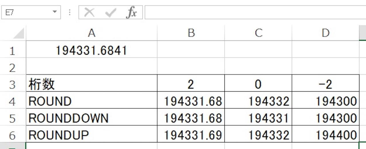 ROUND関数、ROUNDDOWN関数、ROUNDUP関数の違い