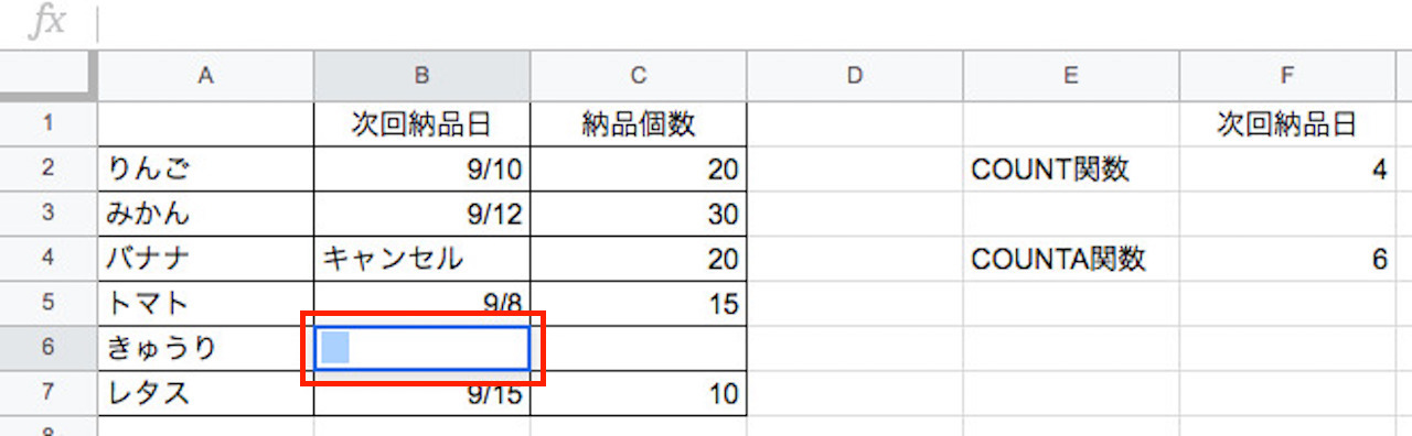COUNT関数とCOUNTA関数の答えが合わないときの例②