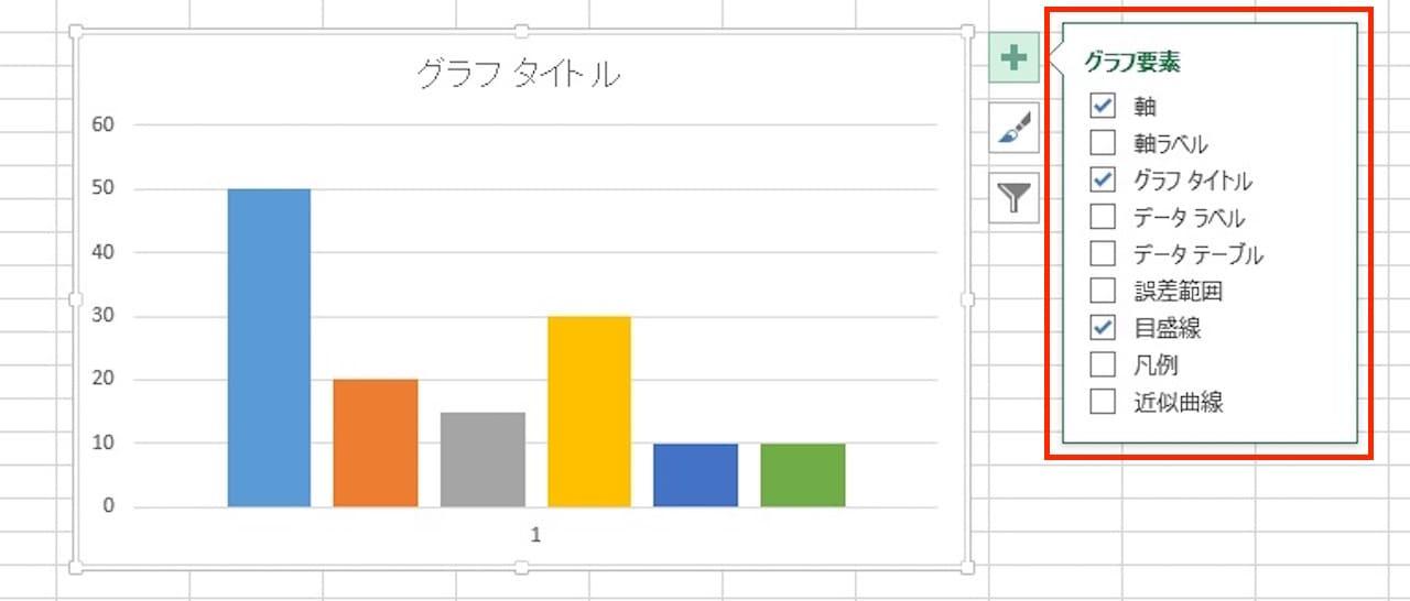 Excelのグラフのグラフ要素を設定する方法②