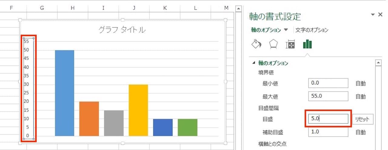 Excelのグラフの目盛間隔の変更方法③