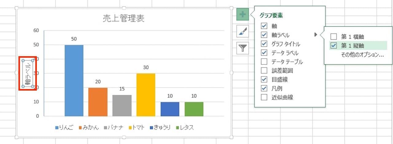 Excelのグラフに軸ラベルを表示する方法③