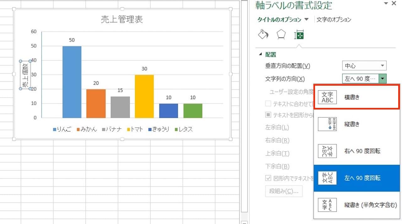 Excelのグラフに軸ラベルを表示する方法⑦