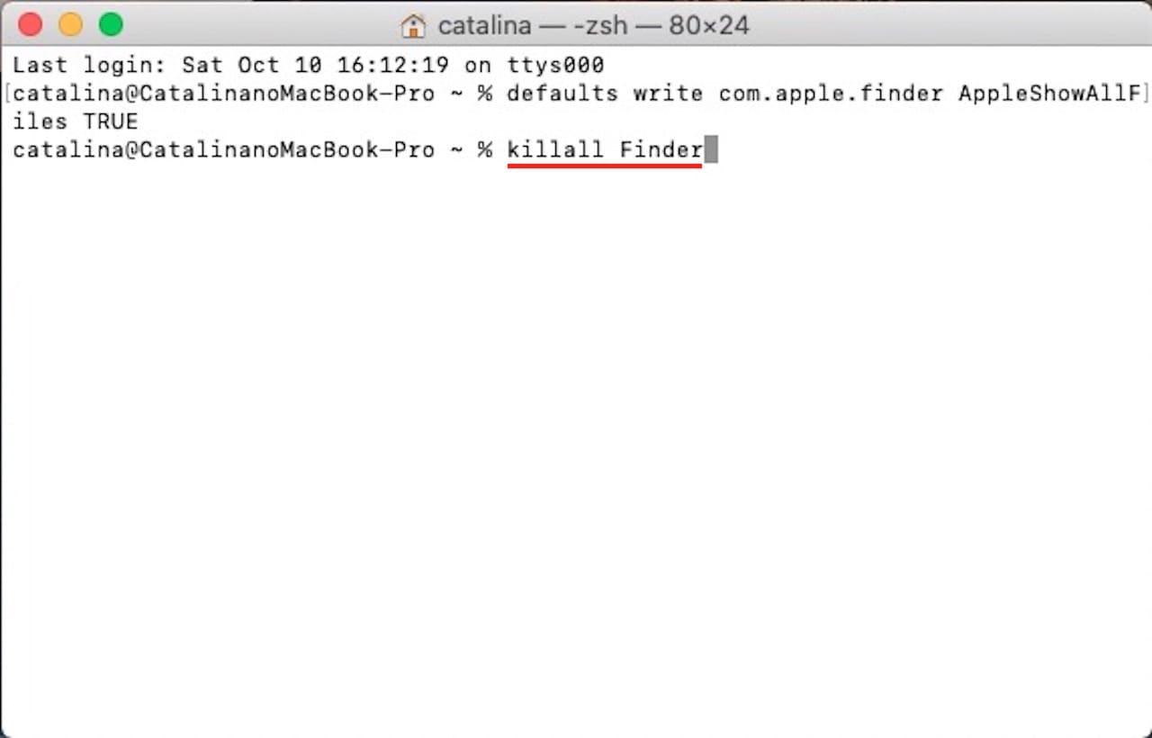 ターミナルを使って隠しファイルや隠しフォルダを表示する方法⑥