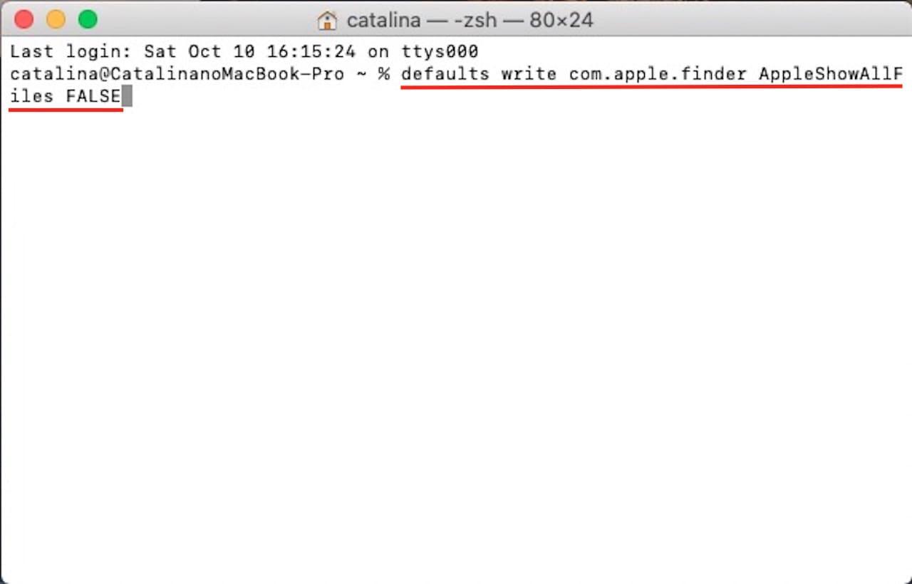 ターミナルを使って隠しファイルや隠しフォルダを表示する方法⑧