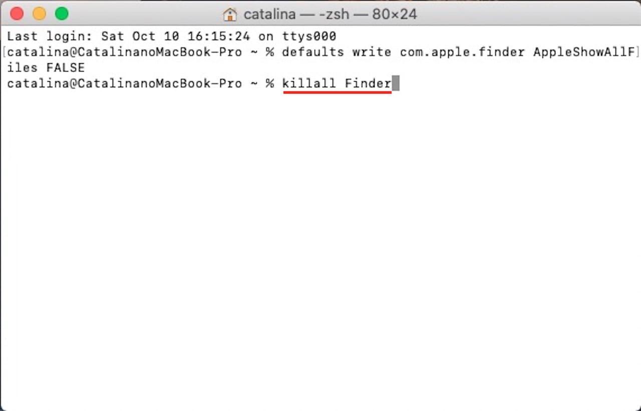 ターミナルを使って隠しファイルや隠しフォルダを表示する方法⑨