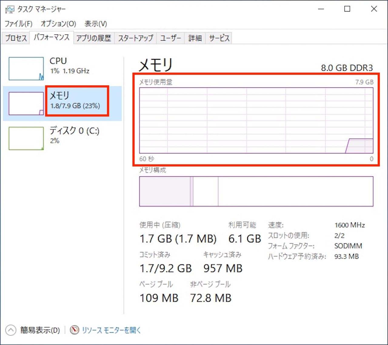Windows10でメモリの使用状況を確認する方法