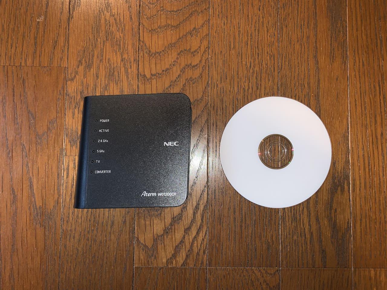 Aterm WG1200CR(PA-WG1200CR)のサイズ比較